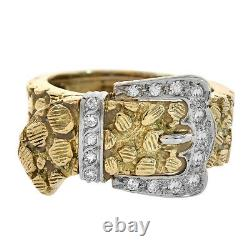 0.30 Carat Round Cut Diamond Nugget Style Buckle Ring 18K Yellow Gold