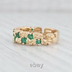 0.70ctw Green Emerald Nugget Ring 14k Yellow Gold Size 6-6.25 Band