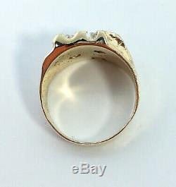 1/2 ct NATURAL DIAMOND mens nugget ring SOLID 14K yellow GOLD