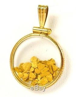 1/20 12k Gold Filled Round Natural 24k Gold Nugget Floating Pendant 1 x 3/4