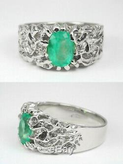 1.50 Carats Natural Emerald Oval Cut Mens Solid Gold Nugget Solitaire Ring 14K