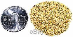 1.550 Grams Alaskan Yukon Bc Natural Pure Gold Nuggets Mesh #30 W Bottle (#b300)