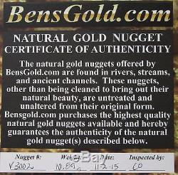 10.89 Gram Natural Alaska Placer Gold Nugget With Visible Quartz # V 3002