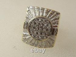 10 karat men diamond ring 10K gold unique large top Hip Hop nugget diamond ring