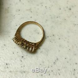 10K Diamond Yellow Gold Chevron Pinky Ring Midi Size 3.75 Nugget V Shaped