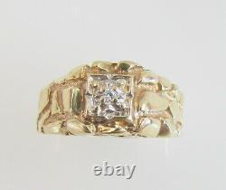 10K YELLOW GOLD MENS GENUINE DIAMOND NUGGET RING SIZE 9 4.3 g