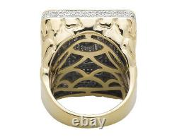 10K Yellow Gold 3D Lion XL Rectangle Nugget Frame Genuine Diamond Ring 1.50ct
