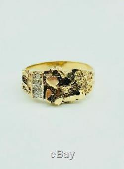 10K Yellow Gold Men's Nugget Diamond Ring