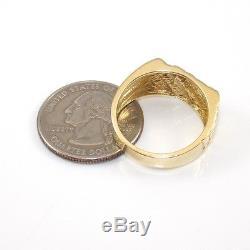 10K Yellow Gold Nugget Natural Diamond Men's Band Ring Size 10 RQ2