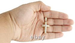 10K Yellow Gold Real Diamond Nugget Border Cross Pendant 1.5 Pave Charm 0.16 CT