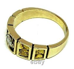 10K yellow gold nugget ring with solitaire diamond. 25tcw size 7.75