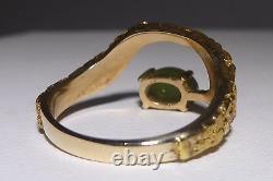 10k 21K Y Gold Jade Pinky Ring Nugget Ring Genuine Green Jade Estate Vintage