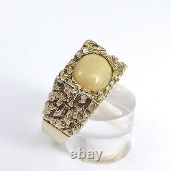 10k Gold Cabachon Fire Opal 3ct Nugget Mens Ring Unisex 12 grams sz12