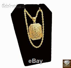 10k Gold Men Nugget Charm Pendant with Rope Chain in 20 22 24 26 Inch Real