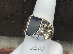 10k Gold Mens Onyx Nugget Ring Sz 9.75