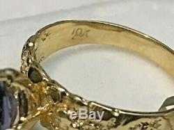 10k Gold Natural Iolite & Gold Nugget Band Ring 3.14 Grams Size 7.5 + Ring Box