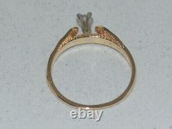 10k Gold Solitaire Engagement Ring with a Gold Nugget Design Accents