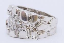 10k Solid White Gold Mens Polished Thick Nugget Diamond Cluster Ring Band SZ 6.5