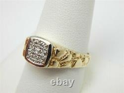 10k Yellow Gold. 10 Tcw Paved Diamond Nugget Men's Ring Size 9.5