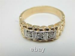 10k Yellow Gold. 15 Tcw Triple Diamond Nugget Band Men's Ring Size 10.25 Jb