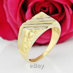 10k Yellow Gold Estate Textured Nugget Style Diamond Ring Size 12
