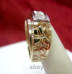 10k Yellow Gold Men's Jub 699 Golden Nugget. 75ctw Diamond Ring Band Size 8.5