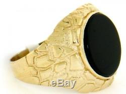 10k or 14k Solid Yellow Gold Nugget Round Onyx Mens Ring