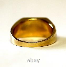 10k yellow gold. 21ct SI1 H mens nugget diamond wedding band ring 10.6g vintage
