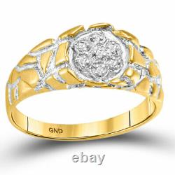 10kt Yellow Gold Mens Round Diamond Cluster Nugget Band Ring 1/20 Cttw