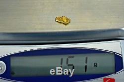 #129 Alaskan BC Natural Gold Nugget 1.51 Grams Genuine