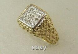 14 Kt Solid Yellow Gold Square Top Nugget Side Diamond Men's Right Hand Ring