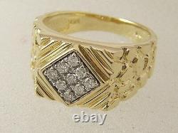 14 karat diamond nugget ring 14K yellow white gold. 25 carat diamond nugget ring