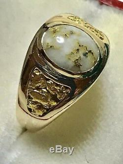 14K Natural Gold In Quartz with Natural Nuggets Ring Size 8.25 10.7 Grams