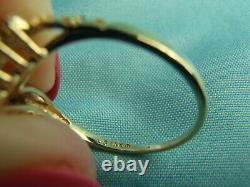 14K Solid Gold Nugget V Shape Chevron Wedding Band Ring with 9 Diamonds Sz 7 3/4