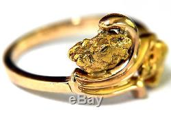 14K Solid Gold and 18K/22K Natural Gold Nuggets Ring Size 6