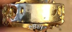 14K Solid Yellow Gold Natural Diamonds Men's Nugget Ring Size 11 10.7 Grams