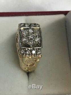 14K Solid Yellow Gold Natural Diamonds Men's Nugget Ring Size 8 1/4