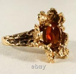 14K Solid Yellow Gold Orange Amber Gold Nugget Ring Size 10