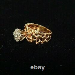 14K Solid Yellow Gold Women/Men Nugget Ring 7.2g Size 5 with 7 diamonds