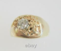 14K YELLOW GOLD 1/2 CT GENUINE DIAMOND MENS NUGGET RING SIZE 12 8.9 g
