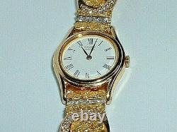 14K YELLOW GOLD & DIAMOND WATCH BAND With 24K GOLD NUGGETS SEIKO QUARTZ