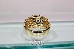 14K YELLOW GOLD NUGGET & 0.75 TCW DIAMOND MEN'S RING, SZ 9.75, 9.9 Grams