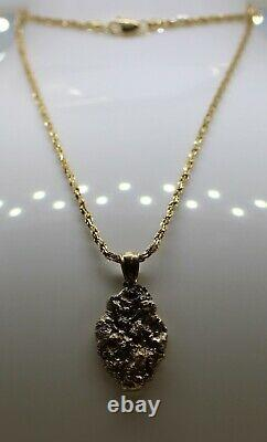 14K Yellow Gold 0.16ct Diamond Nugget Pendant on Fancy Link Chain 20.25 15.08g
