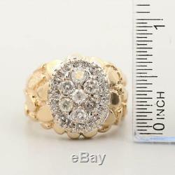 14K Yellow Gold 0.98 CTW Men's Diamond Nugget Ring size 10.5