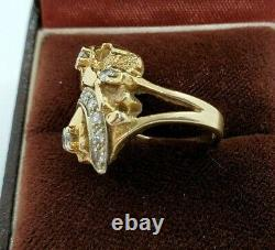 14K Yellow-Gold 7.5g Nugget Ring with Dazzling Round Diamonds CTW 0.25 SZ 4.75