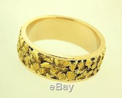 14K Yellow Gold & Alaskan Gold Natural Nugget Ring size 11.5 One of a Kind