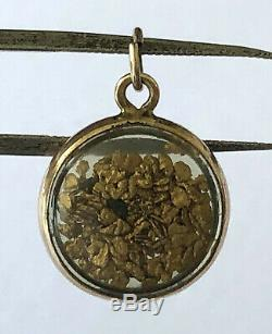 14K Yellow Gold Bezel 22K-24K GOLD Natural NUGGET Charm Pendant