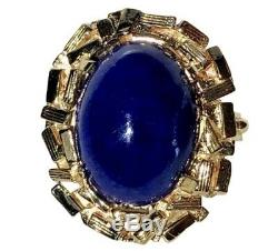14K Yellow Gold Blue Lapis Lazuli Cabochon Oval Ring Nugget Halo Twisted Shank
