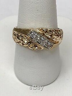 14K Yellow Gold Diamond Gents Ring Nugget & Brushed Setting Size 8.25