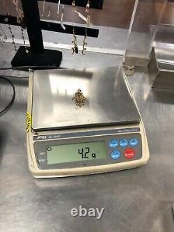 14K Yellow Gold Hamsa Hand Purple Stones Charm Pendant 4.2 Grams